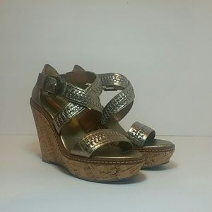 Banana Republic Metallic Leather Wedge Sandals